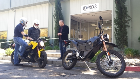 The author preparing for bike ride at ZERO motorcycles in Scotts Valley. Photo: Peter van Deventer / Coast to Coast